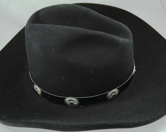 Bailey Black Cowboy Hat 2X Wool Blend Tombstone Size 7 3/8      01199