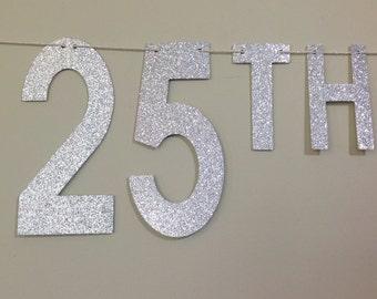 Silver Glitter Happy 25th Anniversary Banner ~ Anniversary Banner ~ Happy Anniversary Party ~ 25th Anniversary Banner Happy Anniversary Sign
