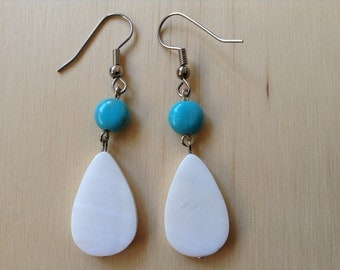 Turquoise and white mother of pearl earrings (item #61)