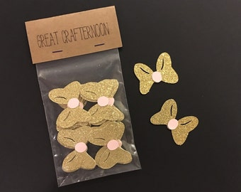 Minnie Mouse Inspired Gold and Pink Bows, Paper Cut Outs, Scrapbooking, Gold and Pink Party, Paper Bows, Pink and Gold