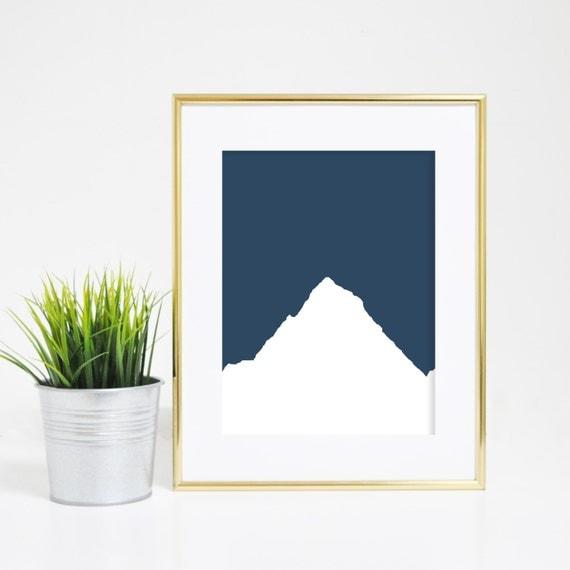 Mountain Art, Digital Wall Print, Printable Mountains, Navy Blue Prints, Digital Art Print, Mountain Picture, Home Prints, Navy Blue Art