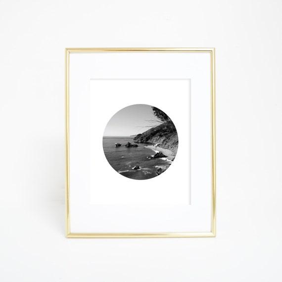 Ocean Print, Digital Print, Wall Printables, California, Print, Ocean Photo, California Photography, Wall Art, Circle Picture, Circle Art