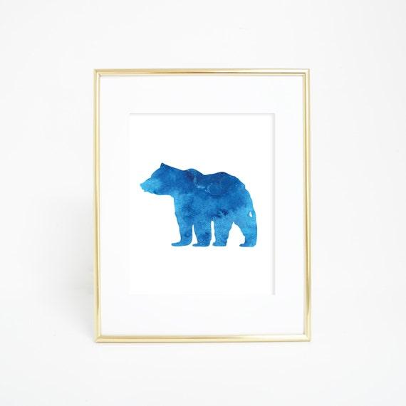 Watercolor Print, Blue Bear Print, Bear Print, Bear Wall Art, Wall Art, Printable Wall Art, Bear Wall Print Forest Animal Print Woodland Art