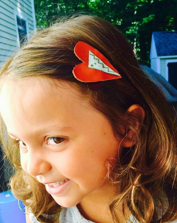 Kids leather hair clips