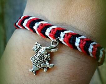 Red, Black, and White Rabbit Bracelet - Alice in Wonderland Hemp Bracelet