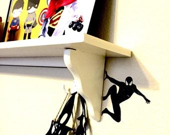 Little boys room or nursery superhero Spiderman silhouette wet hanging off light switch or shelf