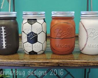 Handpainted Sports Mason Jars, Football, Soccer ball, basketball, baseball, kids decor, man-cave decor