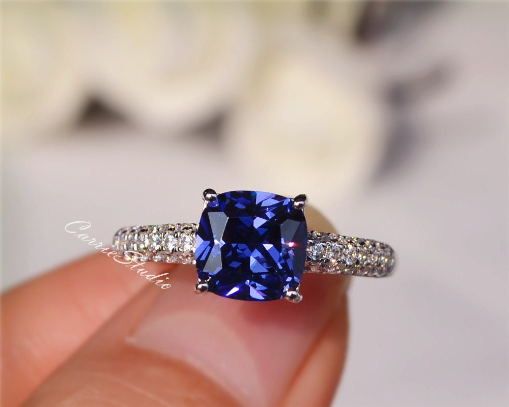cushion lab tanzanite ring tanzanite engagement ring wedding. Black Bedroom Furniture Sets. Home Design Ideas