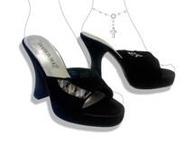Platform vegan suede 90s lace heels!