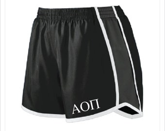 Alpha Omicron Pi - AOII - Sorority Athletic/Running Shorts with Greek Letters