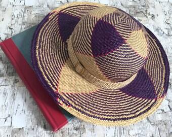 Vintage straw hat. Summer hat. Muticored straw hat. Natural fiber hat. Sylish summer hat. Vintage hat. Small.