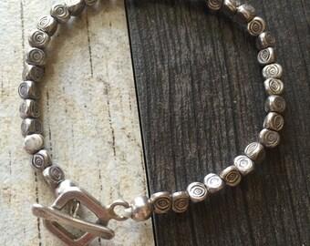 Silver beads bracelet, silver bracelet, silver beaded bracelet, spiral silver bracelet, silver beads