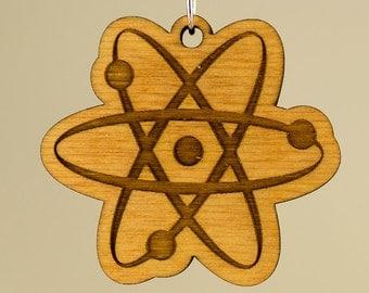 Big Bang Theory Atom Wood Keychain - Atomic Wooden Engraved Charm - Atom Carved Wood Key Ring