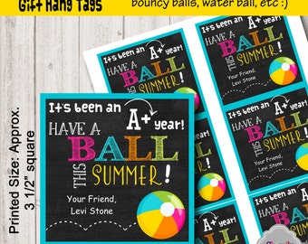 Personalized End of School Gift Tag Printable - HT-EOY001 - Have a Ball This Summer