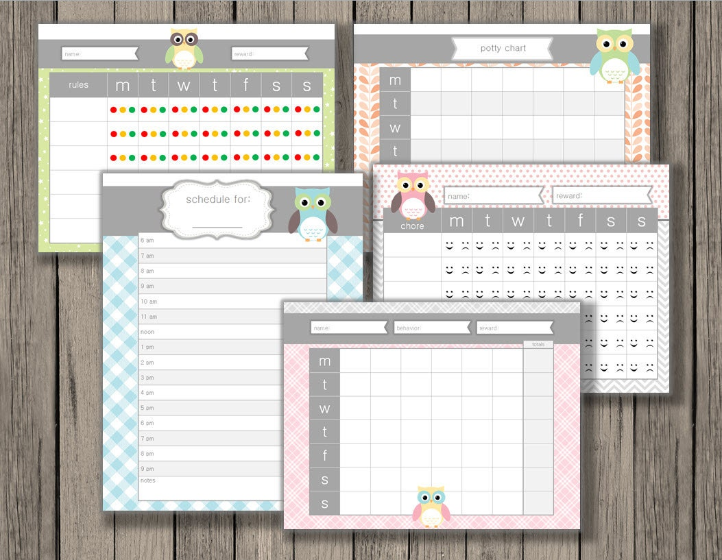 kids charts chore chart behavior chart rules chart potty kids charts chore chart behavior chart rules chart potty training chart daily kid schedule kids chart printable owl design