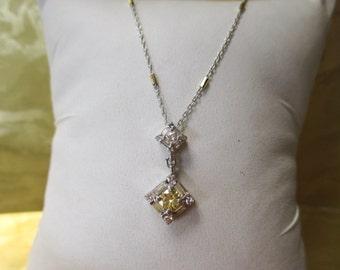 14K WHITE Gold Yellow Diamond Necklace