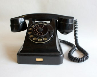 Vintage Soviet Rotary Desk Phone. Black Ebonite Retro Phone from 50's-60's