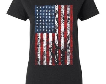 Distressed American Flag USA of July Patriotic Red White and Blue Silver Women's Crew T-Shirt Top