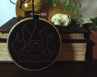 Burning Church Black Metal Small Handstitched Embroidery Hoop