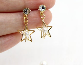 Star Earrings, Gold Star Earrings, Gold Star Dangle Earrings, Star Stud Earrings, Pearl Back Earrings, Star Ear Jacket Earrings