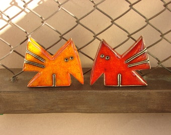 Two little birds - Original ceramic handmade figures of birds - Pottery