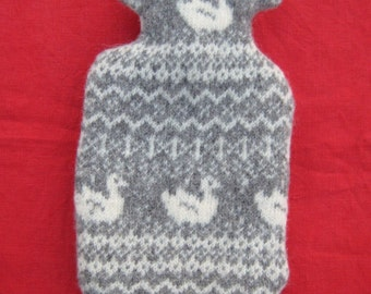 Felted Shetland Wool Hot Water Bottle in Natural Grey and White with Fair Isle Pattern and Duck Motif