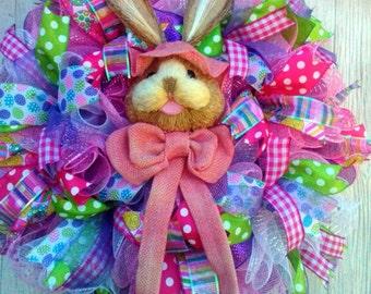 Pink Easter Bunny Mesh Wreath, Spring Mesh Wreath, Rabbit Wreath, Bunny Wreath, Decc Mesh Wreath, Spring Wreath, Easter Decor, Spring Decor