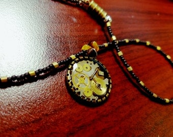 steampunk resin necklace