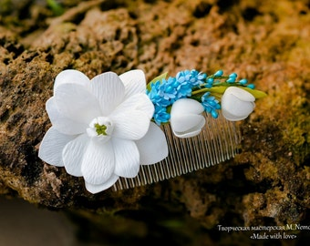flower comb, white comb, spring comb, bride comb, , bridesmaids comb, flowers girl, spring flowers