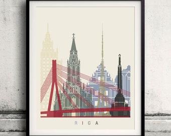 Riga skyline poster - Fine Art Print Landmarks skyline Poster Gift Illustration Artistic Colorful Landmarks - SKU 1845
