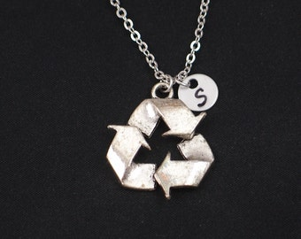initial necklace, recycle symbol necklace, long necklace option, silver recycle symbol charm, save Mother Earth, Earth Day, environment