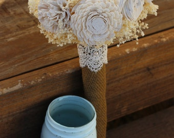 ivory bouquet, bridal bouquet, sola bouquet, wedding bouquet, rustic wedding