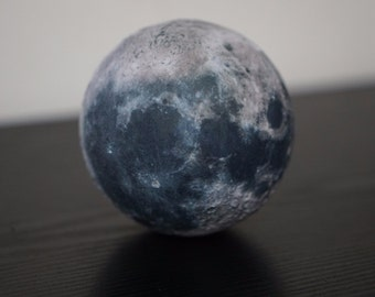 3d printed Moon globe, with surface relief detail