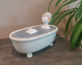Fitz and Floyd, Bubble Bath Soap Dish or Storage Dish, 1977
