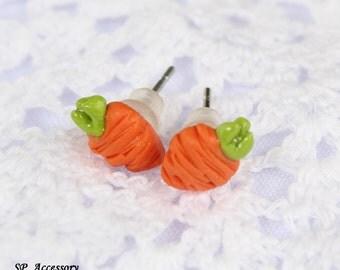 Miniature Carrot Earrings, orange clay stud, earrings clay, clay stud, fancy clay stud