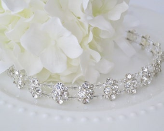 Crystal bridal halo, Rhinestone and crystal head wrap, Boho hairpiece