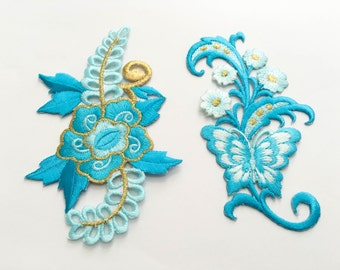 2 pcs Light Blue, Gold  Flower Patch/Embroidered Flower Patch /Embroidered Iron on Patch / Flower Applique Size 7.0x11.6cm