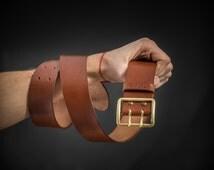 Leather belt with vintage buckle WW2 era Vegetable tanned leather belt Handcrafted Mens leather belt Black leather belt Birthday gift