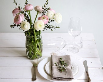 Natural Linen Cloth Napkins Set of 12 perfect for Dining table