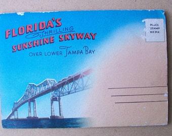 Vintage 1950s Tampa Bay Sunshine Skyway Bridge Postcard Folder