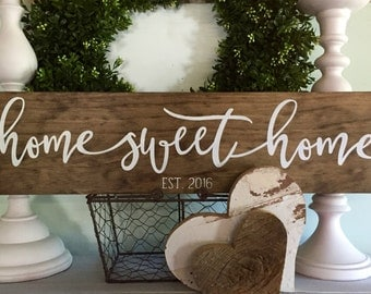 home sweet home sign, home sweet home, wood signs,  established wood sign, wooden signs, rustic family sign, new home date, farmhouse