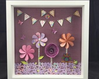 Girls room decor | little girls bedroom wall decor | nursery room wall decor | little girls room decor | kids wall art frame | paper flowers