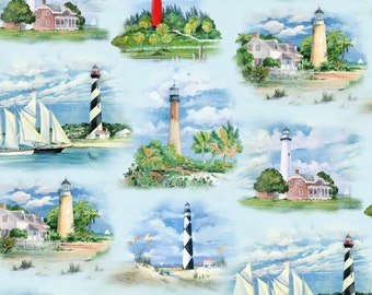 Lighthouses Fabric by Elizabeth Studio's / Beacon Fabric  / Blue Fabric - 6500- Blue Light House Fabric / 1 Yard and 1/2 Yard Cuts