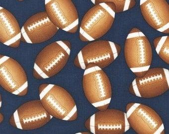 Footballs on Blue Fabric / Sports Life 3 / Robert Kaufman Fabric SRK- 14615 -9 / Fat Quarter / 1 Yard Cut  / 1/2 Yard Cuts