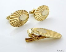 Vintage Speidel Cufflinks Set with Tie Clip Bar Gold Tone Starburst Engraveable