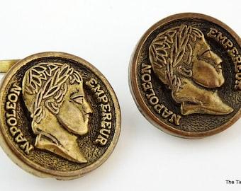 Vintage Napoleon Empereur Cufflinks Small Round Light Cuff Links