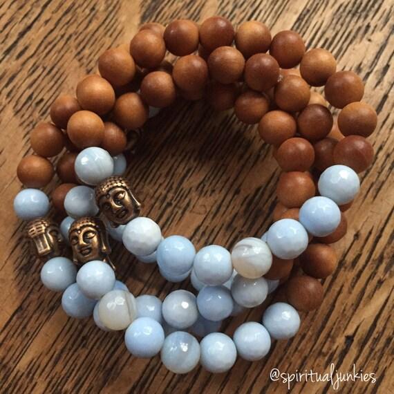 Stackable Mala Inspired Sandalwood, Faceted Light Blue Agate + Copper Buddha Spiritual Junkies Yoga and Meditation Bracelet (single bracelet