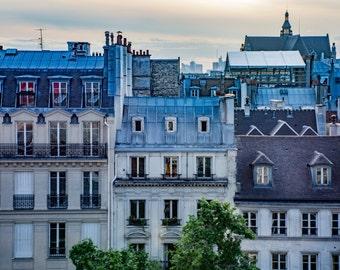 """Paris Photography, Color Photography, Paris Architecture, rooftops, paris rooftops, Blue, french, paris balconies, """"Rooftop Sunsets"""""""