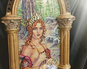 """SALE Lady of the Woods  Goddess Diana & her Companion  Acrylic Painting  Kathryn White Wolf  11"""" x 16""""  framed  Mythology Empowerment Witch"""