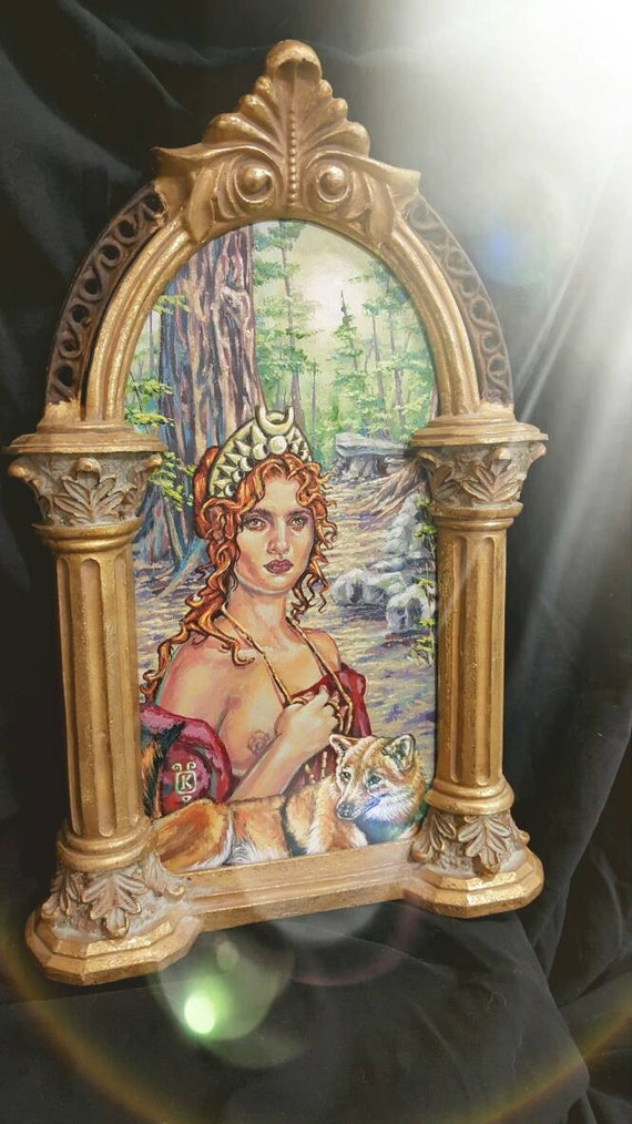 Lady of the Woods  Goddess Diana & her Companion  Acrylic Painting by Kathryn White Wolf approx 11